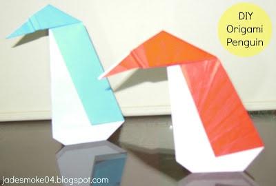 DIY origami penguin (jadesmoke04.blogspot.com)