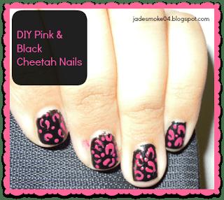 DIY Pink & Black Cheetah Nails