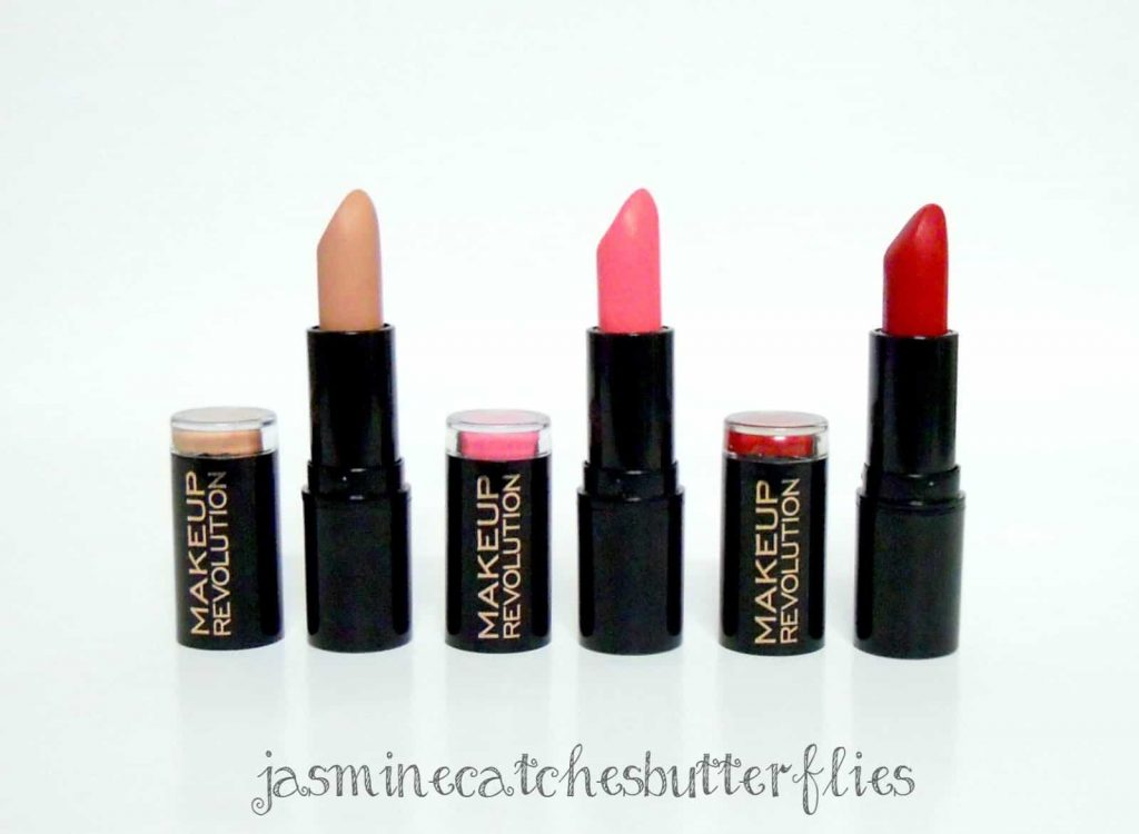 Makeup Revolution Lipsticks: Nude, Beloved and Dare Review and Swatches