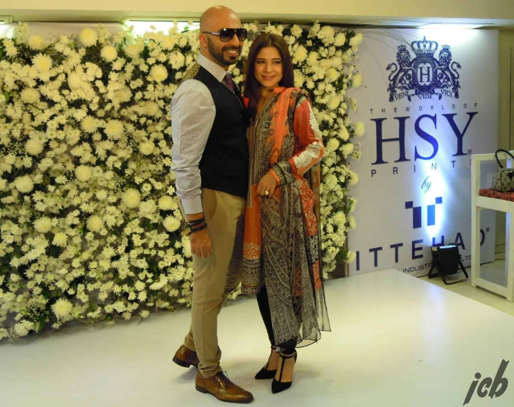 HSY and Ayesha Omer at launch of HSY Lawn