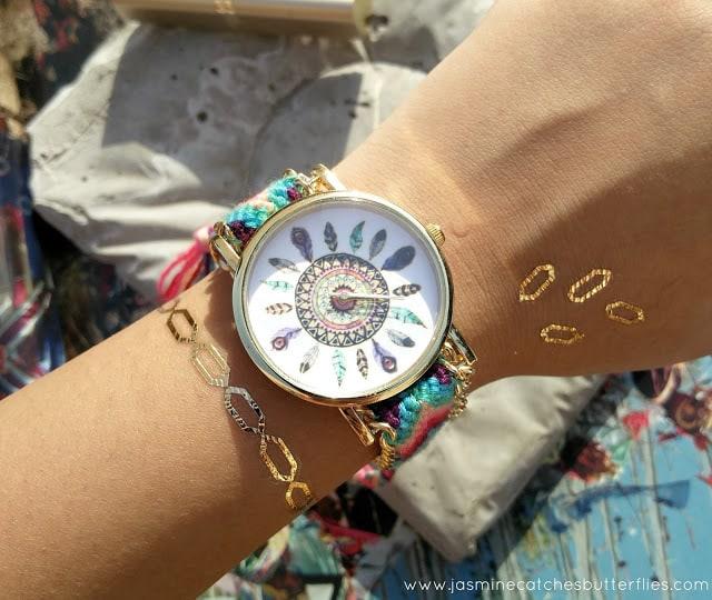 Geometric Feather Pattern Woven Watch from Zaful