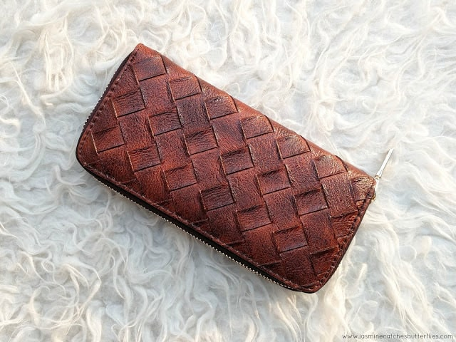 Rose Gal Brown PU Leather Weave Wallet