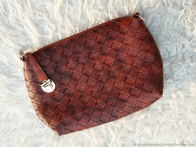 Rose Gal Brown PU Leather Weave Crossbody Bag