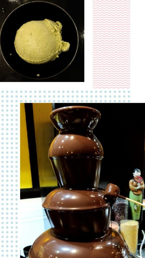 Matcha Icecream and Chocolate Fountain